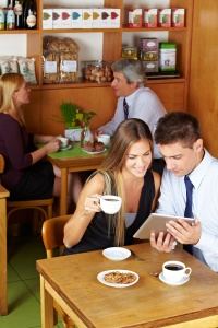 Couple connecting over coffee